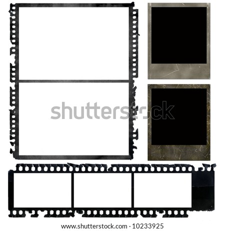 old negative films and instant photo frames - stock photo