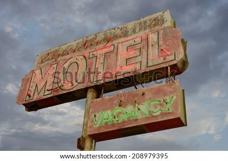 Old neon motel sign in California. - stock photo