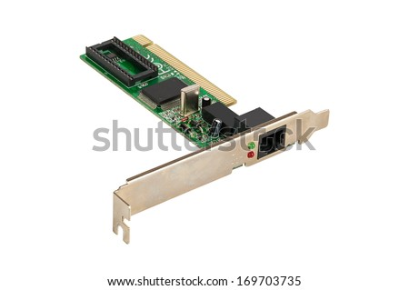 Old network adapter isolated on white background with clipping path - stock photo