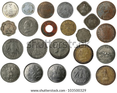 Old, new and antique indian brass, copper, aluminum, silver, and other metal coins isolated on white with clipping mask - stock photo