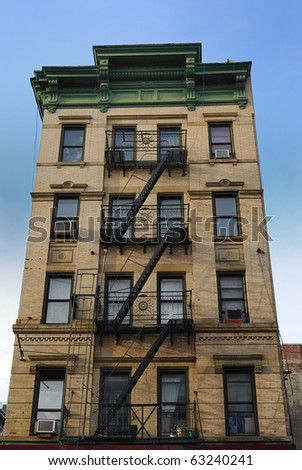 Old new York CIty tenement architecture - stock photo