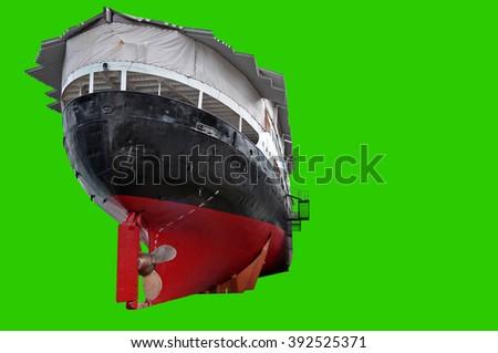 old norwegian fjords postal boat , green screen - stock photo