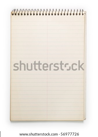 Old note book isolated on white. - stock photo