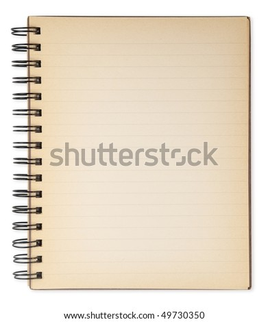 Old note book isolated on white. Not an photo editing effect, really an old note book. - stock photo