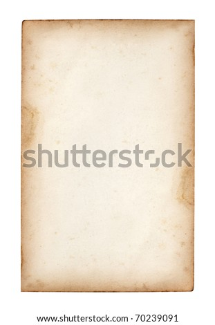 old note paper on white background