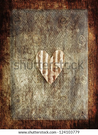 Old notebook background with heart/ vintage notebook on brown timber background - stock photo