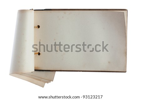 Old notebook isolated on white background