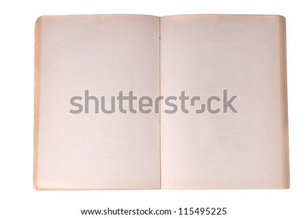 Old notebook open isolated on white background - stock photo