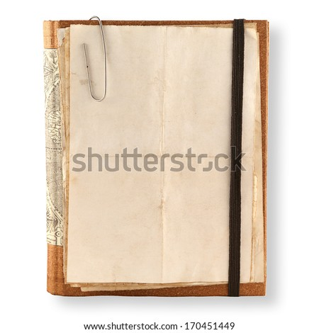 old notebook with space to insert text on a white background - stock photo