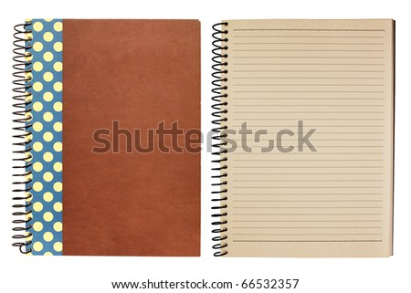 old notebooks isolate on white background