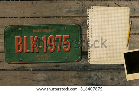 Old number and photo. Retro background - stock photo
