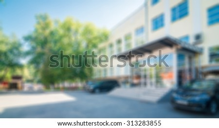 Old Office building theme creative abstract blur background with bokeh effect - stock photo