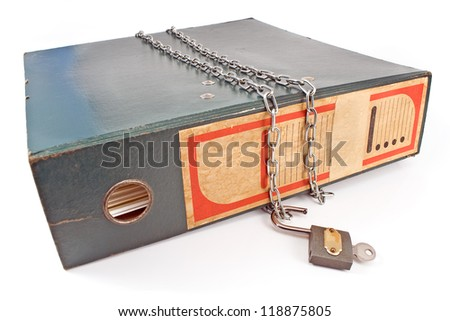 Old office folder with unlocked padlock and chain isolated on white