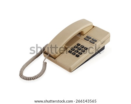 Old office telephone isolated on white background  - stock photo