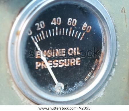 Old Oil Gauge - stock photo
