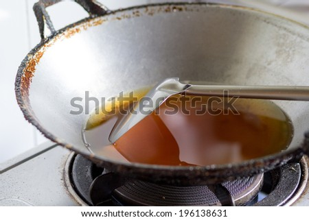 old oil in pan