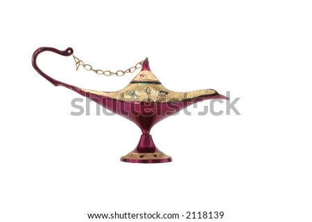 Old Oil Lamp From The Middle East Isolated on White Background - stock photo