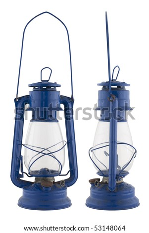 Old oil lamp isolated of the background and in different views. - stock photo