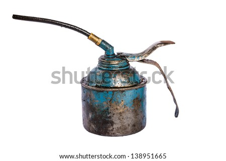 Old oil on isolate white background - stock photo