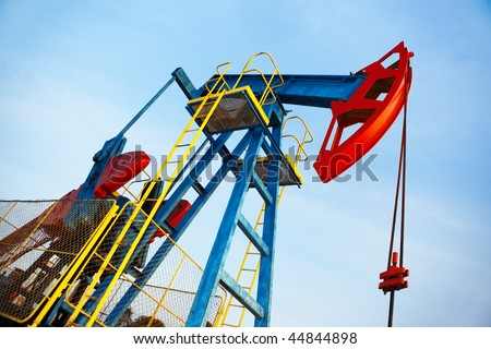 old oil pump jack - stock photo