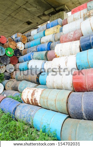Old oil tank background - stock photo