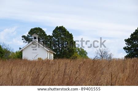 Old one-room schoolhouse on the prairie in Pioneers Park in Lincoln, Nebraska - stock photo