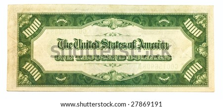 Old One Thousand Dollar Bill Backside - stock photo