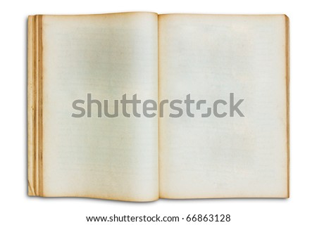 old open blank book isolated on white background - stock photo