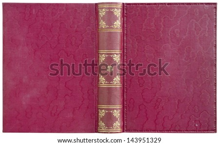 Old open book - cover in red canvas - isolated on white - with clipping path - stock photo