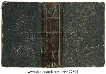 Old open book - cover with leather spine - circa 1875 - isolated on white - perfect in detail! - XL size - stock photo