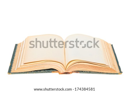 Old open book. Isolated on a white background