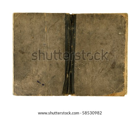 Old open book, 1885, isolated on white - stock photo