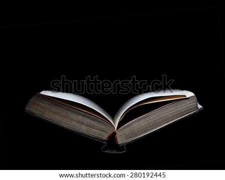 Old open book isolated with space for text - stock photo