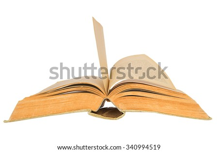 Old open book on white background.Old open book - stock photo