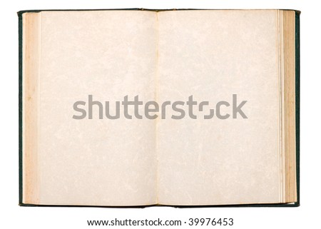 Old open book with blank pages isolated on white