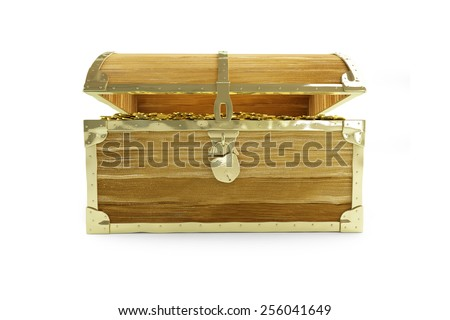old open chest full of treasures on a white background  - stock photo