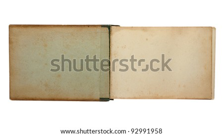 Old open notepad isolated on white background - stock photo