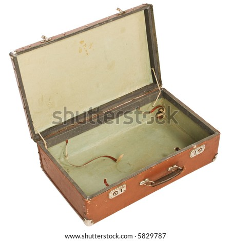 Old open Suitcase - stock photo