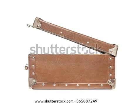 Old open suitcase. Isolate on white background. - stock photo