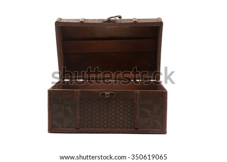 old open wooden chest on white background - stock photo