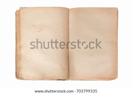 Old opened book with blank pages