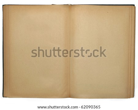 Old opened book with empty pages - stock photo