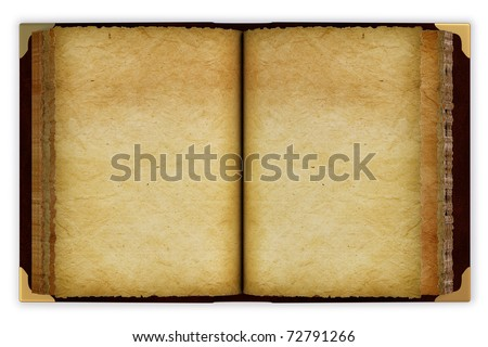 Old opened book with empty pages. isolated on white. - stock photo