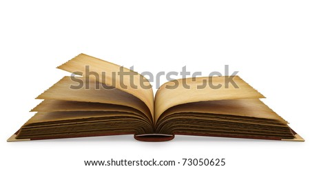 Old opened book with empty pages. isolated on white.