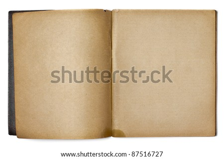 old opened copybook isolated on white - stock photo