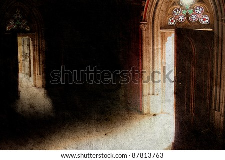 old opened door with light in retro style