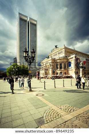 Old opera and skyscraper in Frankfurt - stock photo