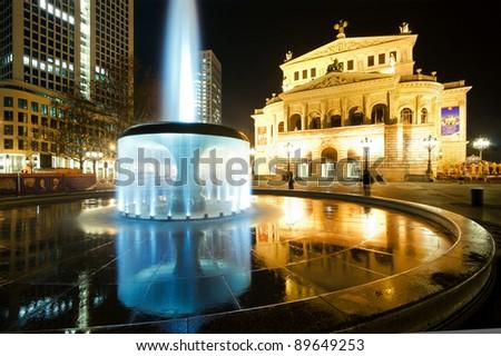 Old opera in Frankfurt at night - stock photo
