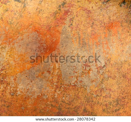 Old orange pottery surface texture - stock photo