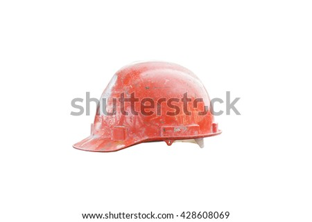 Old orange safety helmet with clipping path isolated on white background - stock photo